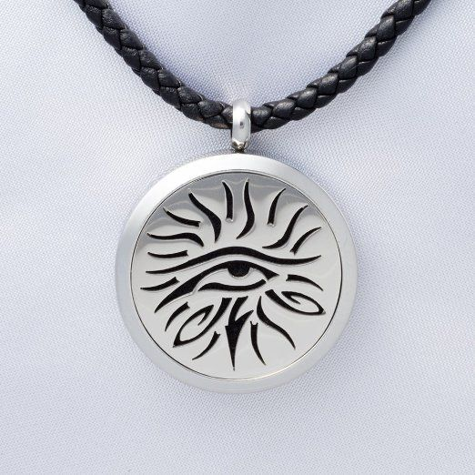 Eye of Knowledge Aromatherapy Necklace - 316L Hypoallergenic Stainless Steel - enjoy your essential oils on the go.