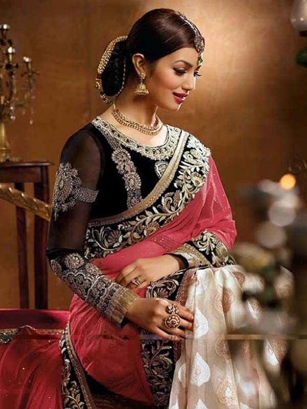 Pearl white with Pink heavy embroidery saree with blouse  #Saree #IndianEthnicwear #Partywear