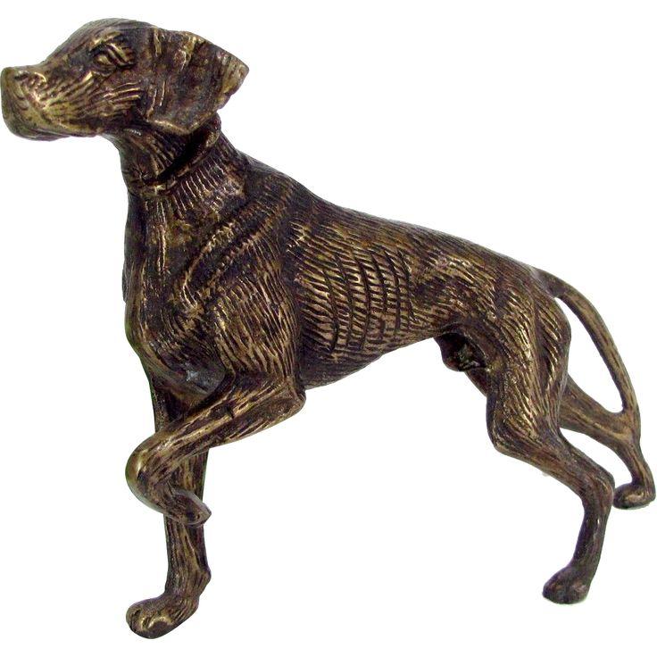 Vintage POINTER RETRIEVER DOG Statue Bronzed Brass Figure Bird Hunting Game