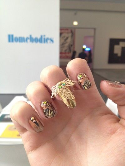 Astrowifey crafted this awesome nail art for Imperial Nails, part of the Homebodies exhibit at the MCA.