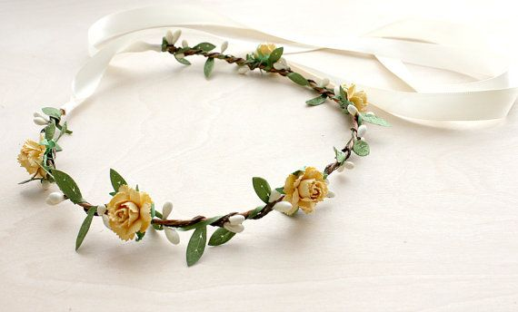 Yellow Peonies Floral Crown Wedding Woodland by rosesandlemons, $38.00