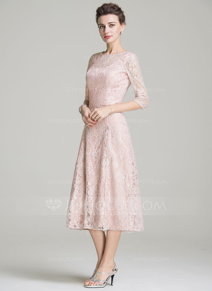 A Line Princess Scoop Neck Tea Length Lace Mother Of The