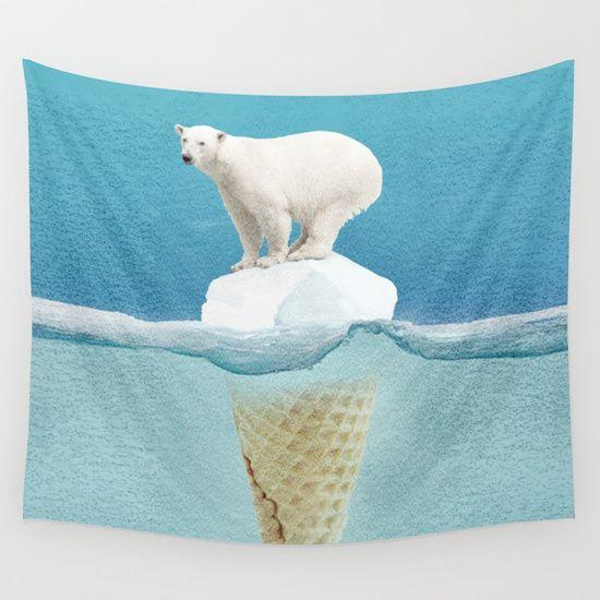 Polar ice cream cap Wall Tapestry. #graphic-design #animals #humor #pop-surrealism #digital #polar-bear #bear #ice-cream #ice #cold #sea #ice-burg