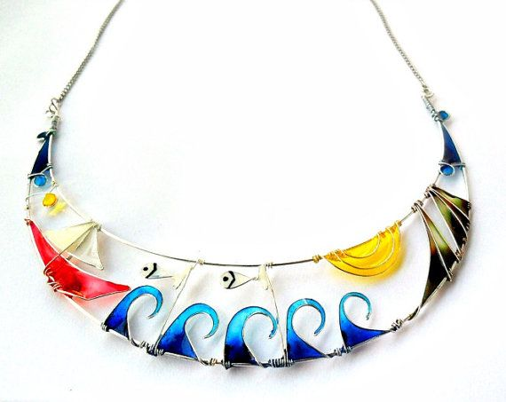 Statement necklace summersea inspired half by ThePurpleBalloon, $49.00