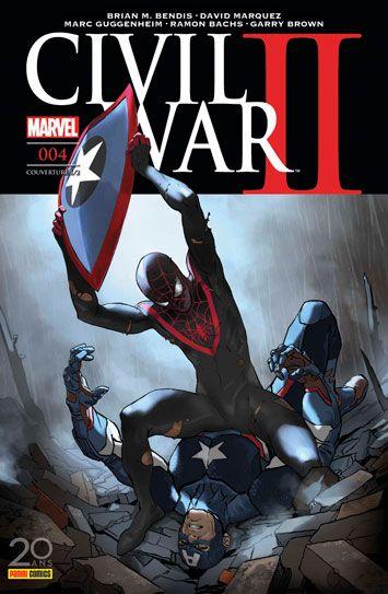 Civil War II nº4 (05 avril 2017) - Miles Morales/Spider-Man tuera-t-il Captain America dans le futur ? Comment les héros réagiront-ils face à cette terrible vision d'Ulysse ? Par Bendis et Marquez. Plus un épisode spécial sur Hawkeye, par Guggenheim, Bachs et Brown. (Contient les épisodes US Civil War II 6, Civil War II : The Accused 1, Civil War II : Choosing Sides 4 (III)) #civilwar2 #panini #comics #marvel