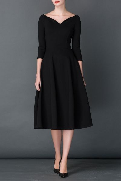 Cys Black A Line Midi Hepburn Dress | Midi Dresses at DEZZAL This could probably be my one LBD if I had to pick just one.