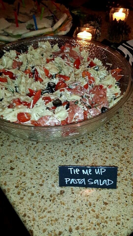 Pure Romance Party Food Ideas:   Tie Me Up Pasta Salad ;)