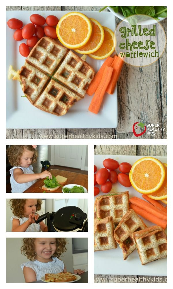 Healthy Grilled Cheese Wafflewich - First kitchen skills for kids- The waffle iron! http://www.superhealthykids.com/healthy-grilled-cheese-wafflewich/