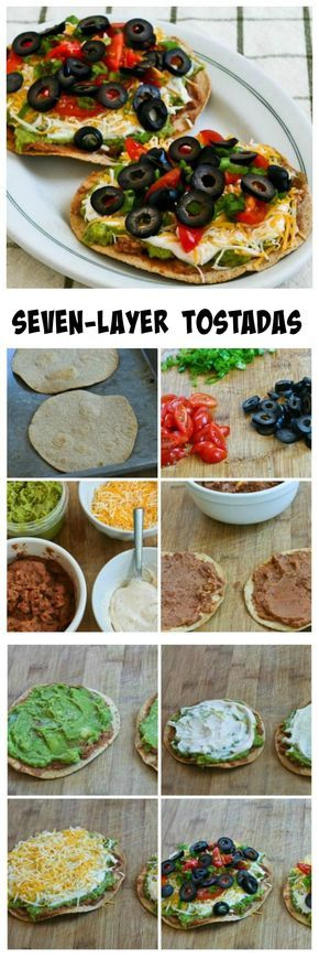 There must be a lot of seven-layer dip fans because these Seven-Layer Tostadas have been a hit with everyone who's tried them.  This would be perfect for Cinco de Mayo, or any time you want a quick and easy vegetarian meal.  I use low-carb tortillas that are crisped in the toaster oven, but if you don't care about that using pre-cooked corn tortillas for the base would make it even faster to get on the table.  [from Kalyn's Kitchen.com]