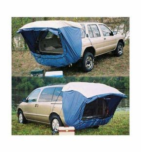 """Explorer 2 SUV Tent. """"SUV"""" now has a new meaning… SLEEP Utility Vehicle! The Explorer 2 SUV Tent is the affordable way to go wild! Your minivan or SUV with liftgate rear panel can now become a comfortable """"roving campsite""""! This quality vehicle Tent is fast, easy, and has distinct advantages over a """"standard"""" tent."""