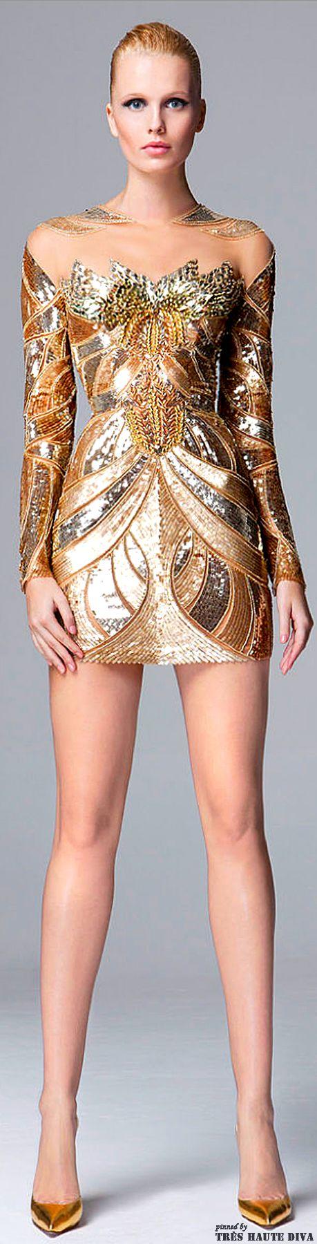 Zuhair Murad Pre-Fall 2014 gold cocktail dress