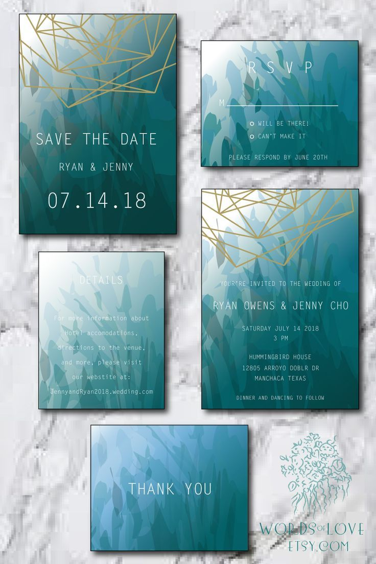 The Jewltone watercolor wedding invitation suite in aquamarine form Words of Love Invites on etsy.  This suite is available as a digital download, or as physical cards.  This modern geometric wedding suite can be color-customized to match your wedding!
