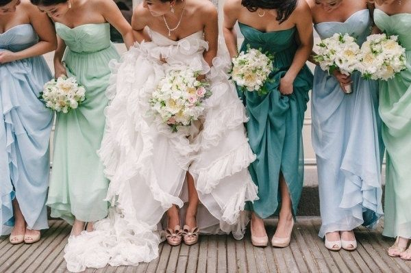 Sometimes an array of bridesmaid dress colors can look prettier than just picking one. | 31 Impossibly Fun Wedding Ideas: Colour, Ideas, Bridesmaids, Shades, Blue, Bridesmaid Dresses, Wedding, Bridesmaid Colors, Colors Schemes