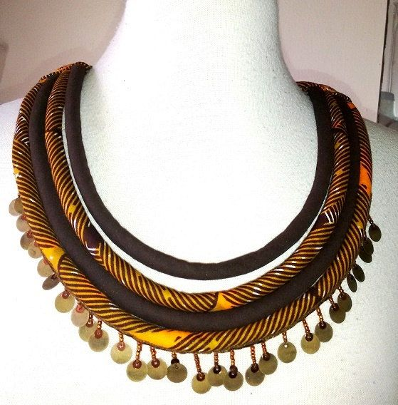 African Fabric  Multi Cord Tribal Necklace with by paintedthreads2