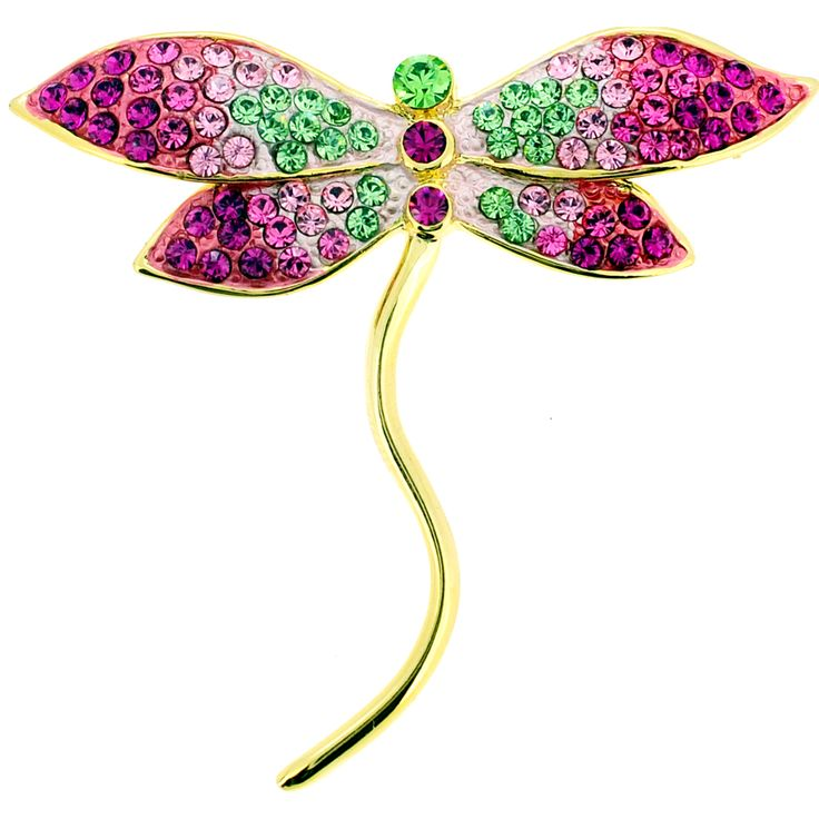 Multi Pink Dragonfly Swarovski Crystal Pin Brooch