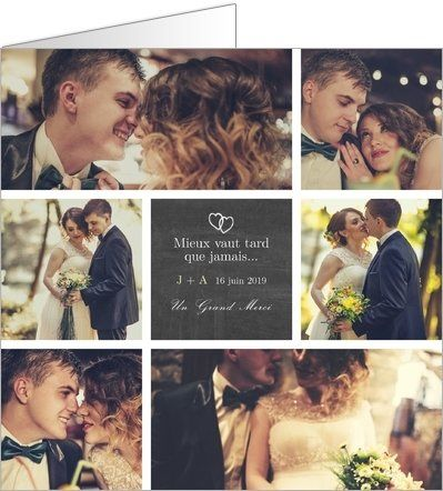 Carte de remerciement mariage en retard. Disponible en 4 formats et à personnaliser sur Popcarte.com