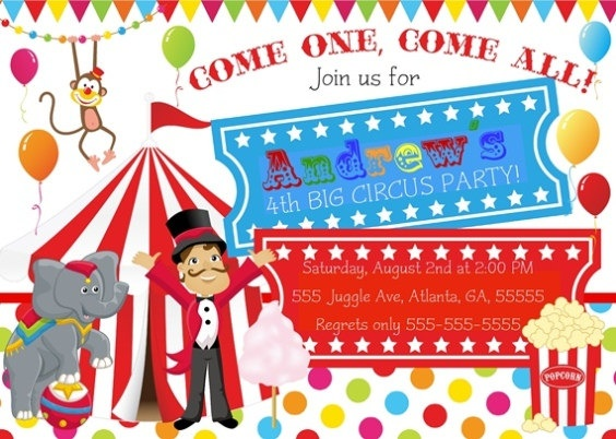 183 best Circus Party images on Pinterest Birthday party ideas - circus party invitation