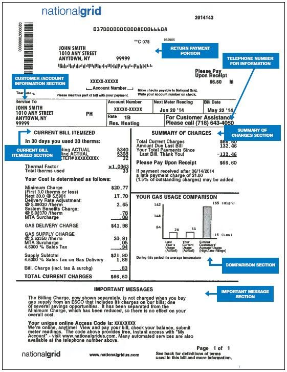 National Grid (New York) - Gas commodity | Sample Bills ...