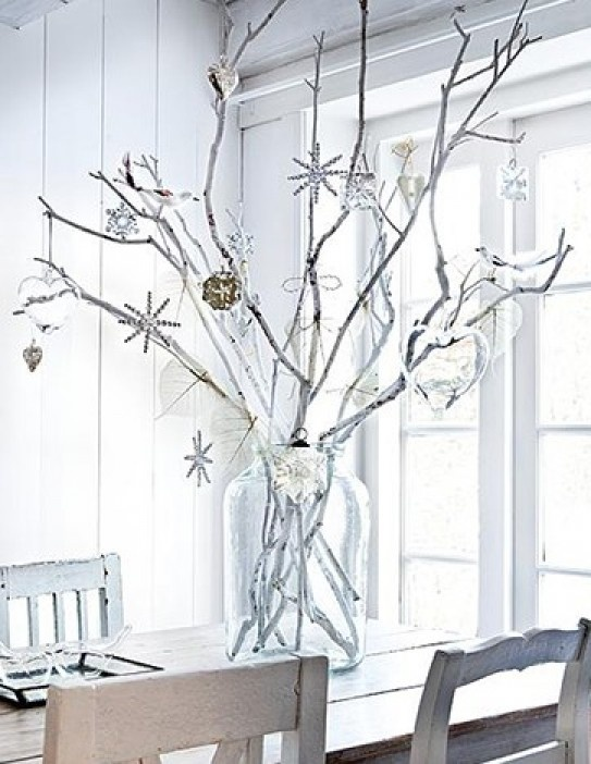 zelfmaken: taken uit het bos wit maken met latex, in je mooiste grazen vaas met je mooiste kerstballen en ornamenten. Door dsturmerverkolf