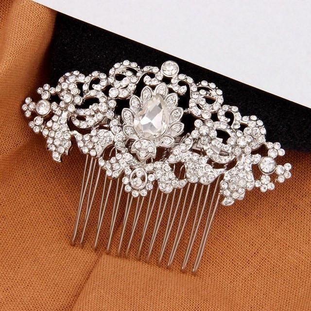 Vintage Wedding Bridal Hair Comb Clear Crystal Art Deco