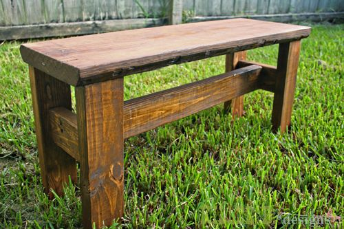 "How to build a rustic bench perfectly sized for preteens that doesn't look ""childish"". Only $10 in materials and a couple of hours! Easily adaptable to adult size with a few minor changes"