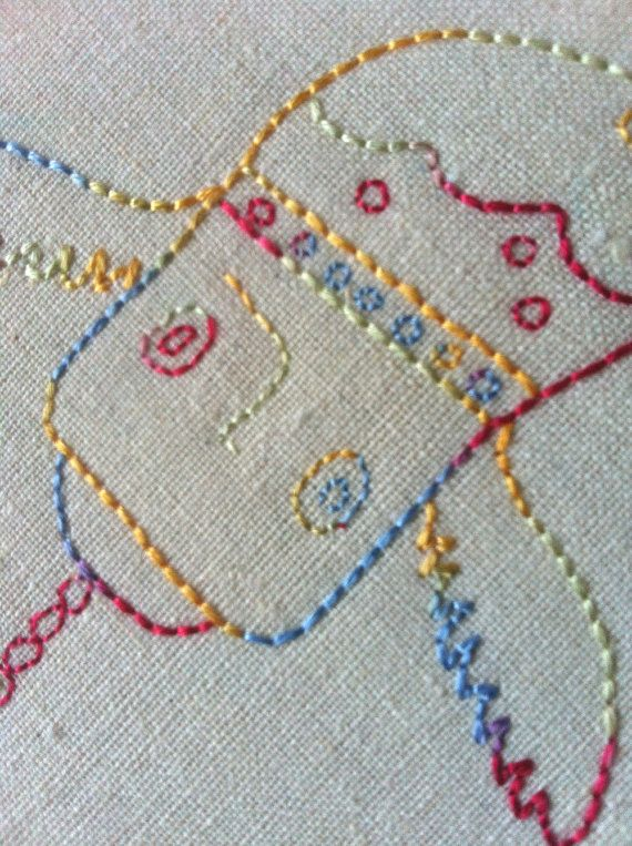 Richard the Rainbow Hook Embroidered Hoop Art by QuirkeryStitchery