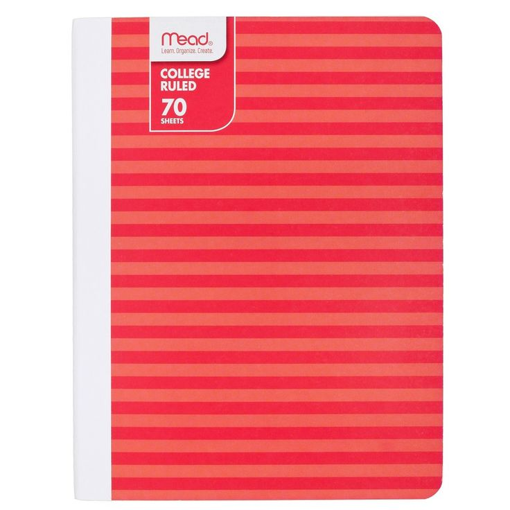 Mead 70 Sheet College Ruled Paper Cover Composition Notebook - Red