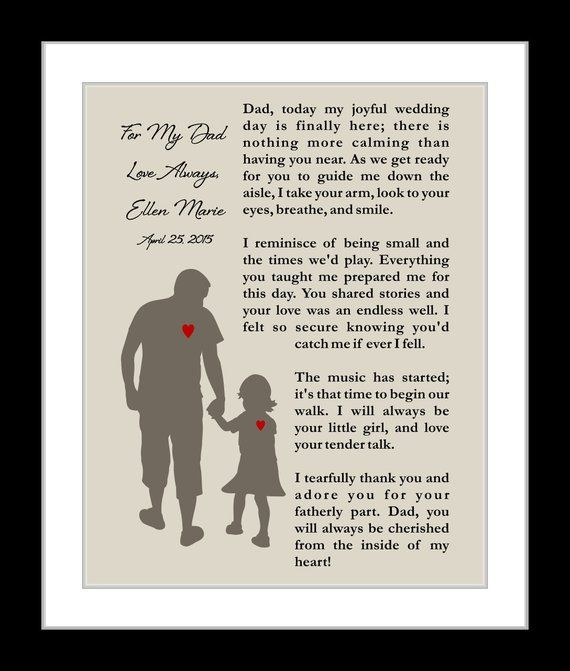 Unique Personalized Wedding Parent Thank You Gifts For Dad Or For Mom Affordable Custom Wedding Print Any Color Gifts Poems For Any Special Occasion
