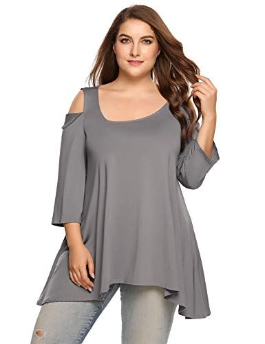 33ddd3c5ba4 Zeagoo Plus Size Sexy Cold Summer Shoulder Top 3/4 Short Sleeve Asymmetric  Neckline High Low Tunic Party T Shirt Tops at Amazon Women's Clothing store: