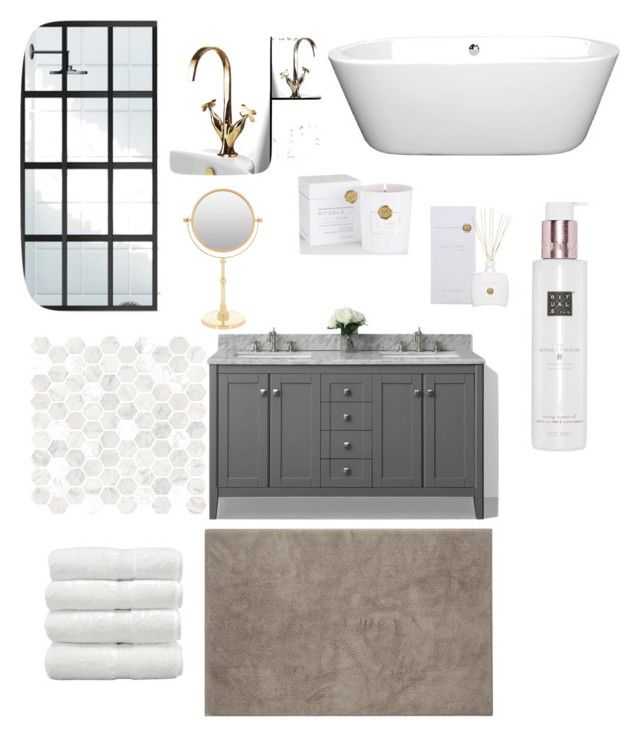 Spa-bathroom by majkenmatilda on Polyvore featuring polyvore, interior, interiors, interior design, home, home decor, interior decorating, Hamam, Zodiac, Rituals, Wyndham Collection and bathroom