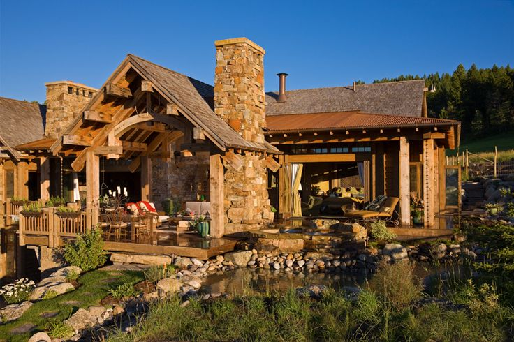 Rustic covered porch - picture window - fireplace  #amazingness: Log Homes, Bridger Canyon, Dream Homes, Dream House, Canyon Residence, Leased Architects, Traditional Exterior, Photo