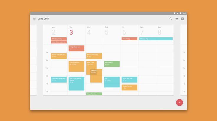 Google Material design language calendar interface