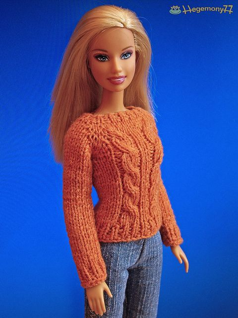 Barbie in hand knitted terracotta sweater by Hegemony77 doll clothes