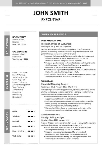 9 best Executive Resume Template images on Pinterest Cv resume - investment analysis sample