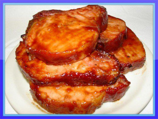 Delicious barbecued pork chops