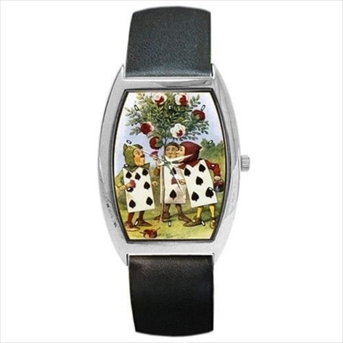 Alice In Wonderland Wrist Watch Painting Roses Red Color Art  #aliceinwonderland #watch #wristwatch #gift #shopping