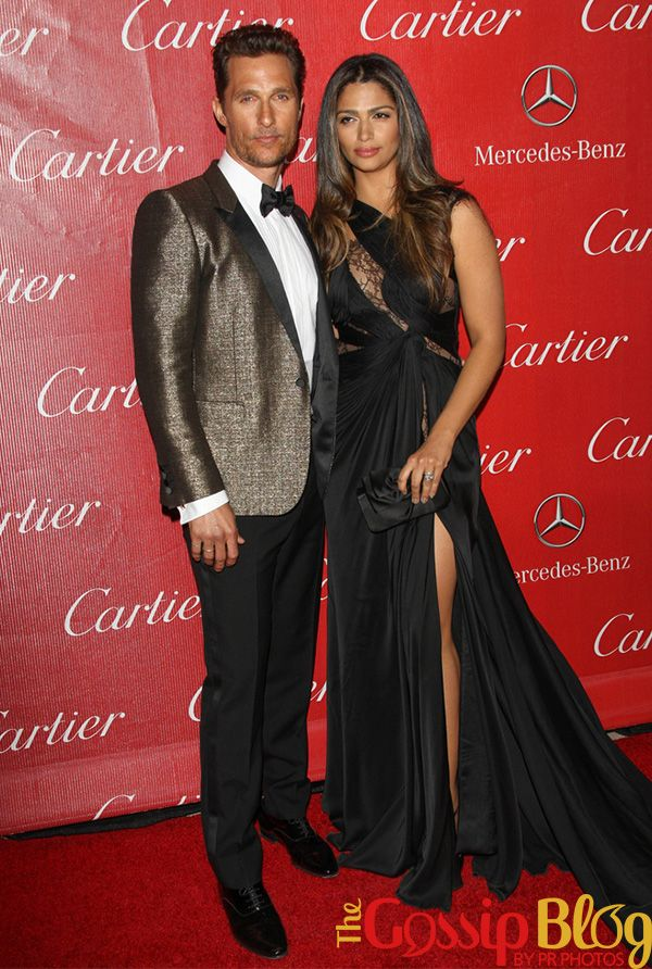 Matthew McConaughey and Camilla Alves. Matthew picked up the Desert Palm Achievement Award – Actor for 'Dallas Buyers Club'. Matthew's suit is Saint Laurent and Camilla's dress is Mikael D.