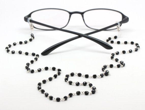 f2f671e13d88 Black glasses chain - reading glasses - beaded eyeglasses chain - glasses  leash - women s glasses ho