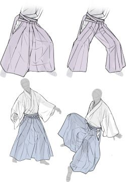 How to draw traditional japanese clothing - Hakama - Drawing Reference