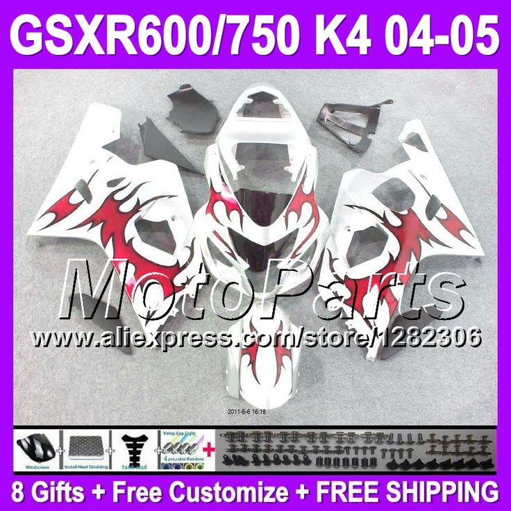 Красный 8 подарки + капот для SUZUKI GSXR600 04 05 GSXR 750 600 GSXR750 # 35191 SX R600 K4 R750 2004 2005 зализа новый красный белый