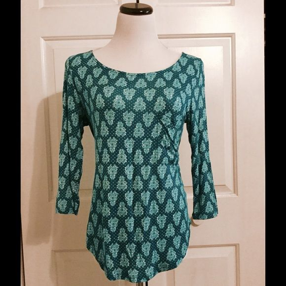 Anthropologie teal patterned top Postmark brand for Anthropologie pullover top with 3/4 sleeves and front pocket. Super soft, and in excellent used condition. Teal/turquoise wallpaper pattern. Perfect weight for spring/summer. Anthropologie Tops