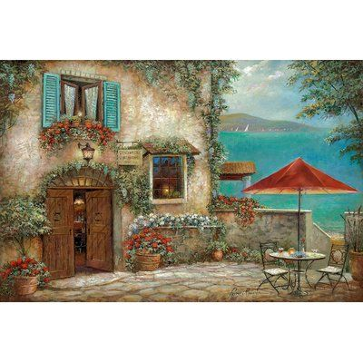"""East Urban Home 'Ombrello Rosso' Painting Print on Canvas Size: 26"""" H x 40"""" W x 0.75"""" D"""