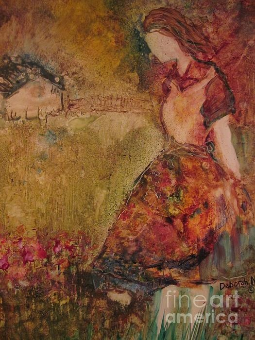 """A girl standing in a meadow. This is called """"In The Meadow"""" and is my most recent painting."""