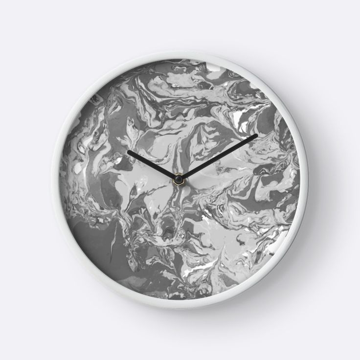 """Black and white marble texture."" Clocks by kakapostudio 