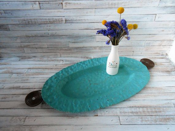 Decorative Metal Tray  Beach Inspired Painted Metal