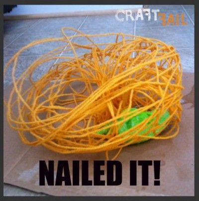 Craft Fail... Another good one to help you laugh when you feel like tearing out your hair! Hey, maybe I could use that hair to make balloon lanterns.......