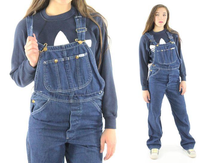 Vintage 70s LEE Denim Overalls Dark Blue Jeans by ScarletFury
