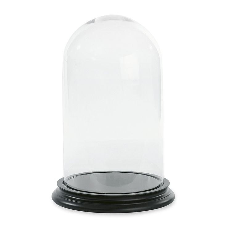 Add the finishing touch to your interior with this Glass Bell with Wooden base from Miss Etoile. Made from clear glass with a solid black wooden base, it is perfect for displaying beautiful objects an
