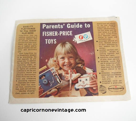 Vintage Fisher Price Toy Catalog 1963 Fold Out Parents'