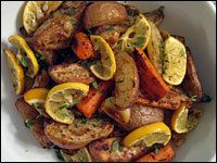 Roasted Root Vegetables And Meyer Lemons /Cooking spray  1 pound small red potatoes, quartered  1 pound carrots, cut into 2-inch pieces  1 head garlic, cloves separated and peeled  1 teaspoon dried thyme  Salt and freshly ground black pepper to taste  2 tablespoons olive oil  2 Meyer lemons  Fresh thyme for garnish (optional)/